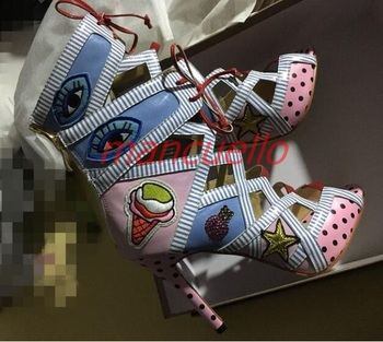 New fashion sexy open toe lace-up ankle sandal colorful printed leather high heel lace up sandal  Woman cut-outs lace up  sandal