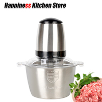 Household Mini 2L Electric Meat Grinder Stainless Steel Bowl Meat Chopper Mincing Machine Kitchen Tools