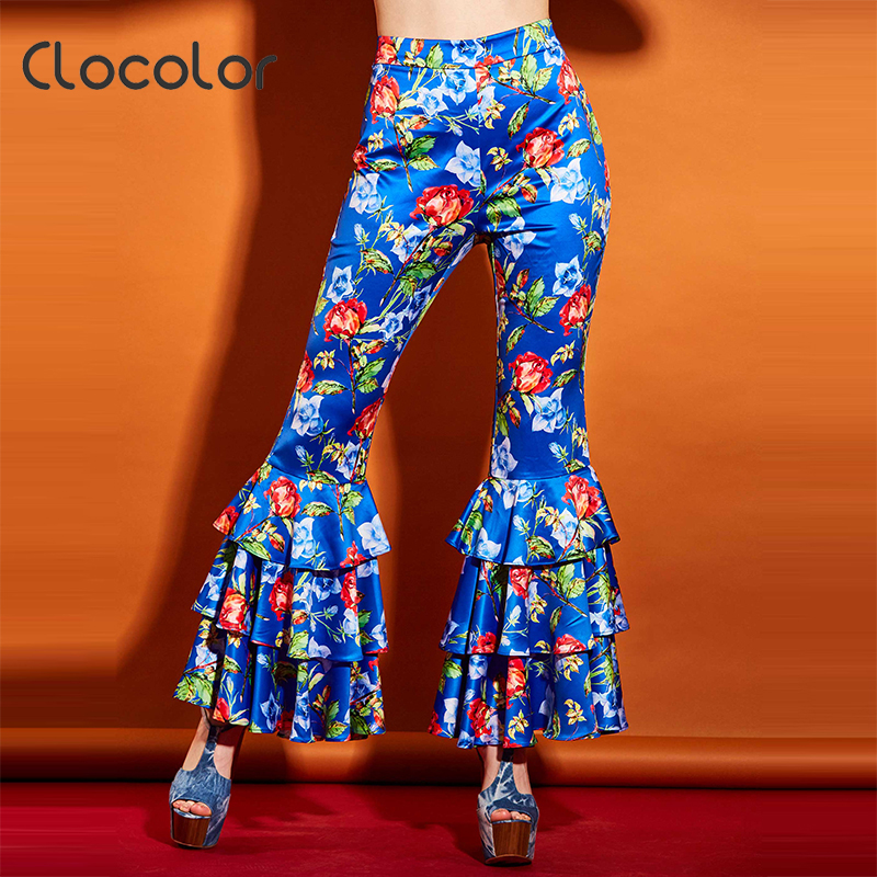 Wild Colour Store Clocolor women floral trouser elegant flared ruffled bellbttoms causal pants high waisted print flare 2017 fashion women pants