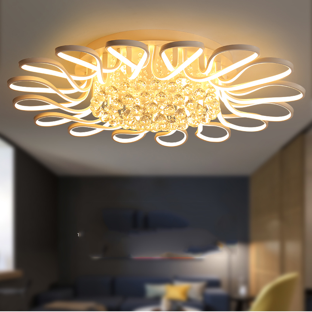 Modern led Dining Room Living Room Suspension luminaire Hanging White Bedroom Chandeliers Fixtures modern crystal chandelier led hanging lighting european style glass chandeliers light for living dining room restaurant decor