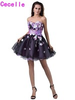 Colorful Short Sweetheart Homecoming Dresses 2017 With Flowers Cute Black Organza Juniors Girls Prom Party Dresses Custom Made