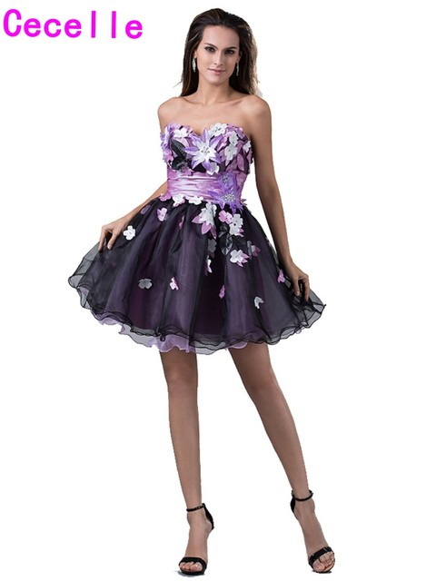 26b9b8a77b0 Colorful Short Sweetheart Homecoming Dresses 2019 With Flowers Cute Black  Organza Juniors Girls Prom Party Dresses Custom Made