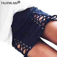 TAUPIN AM Sexy Lace Up High Waist Pencil Skirt Suede Bodycon Mini Skirts Womens 2017 Fashion