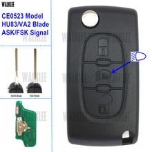 Walklee автомобиля удаленный ключевой 433 мГц работы для Citroen автомобиль C5/C4/C3/C2/Berlingo/Пикассо 3BT лампа/свет (CE0523, ASK/FSK, HU83/VA2)