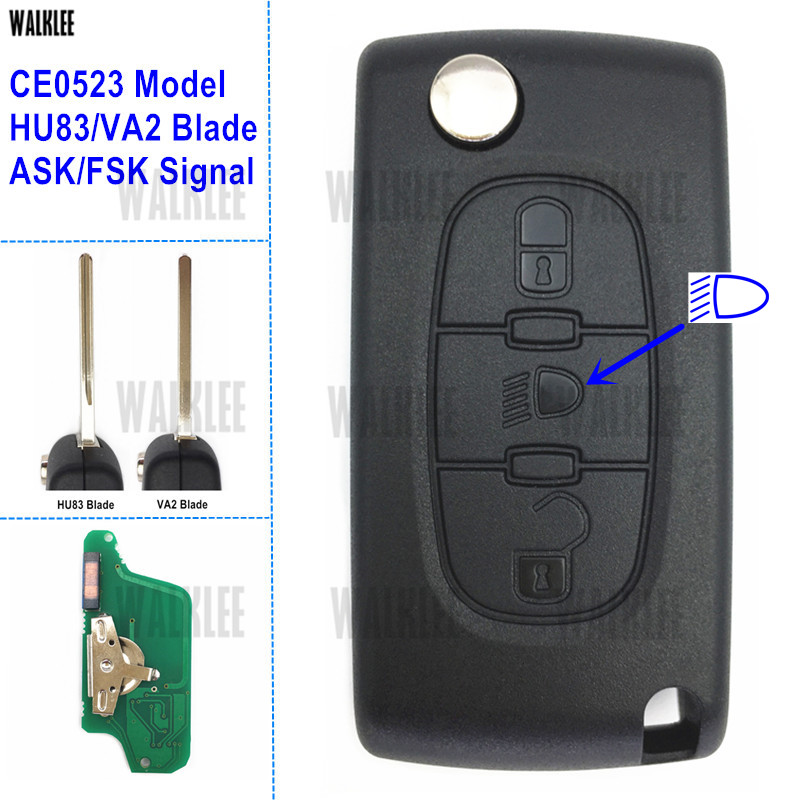 WALKLEE Vehicle Remote Key 433MHz Work for Citroen Car C5/C4/C3/C2/Berlingo/Picasso 3BT Lamp/Light (CE0523, ASK/FSK, HU83/VA2)