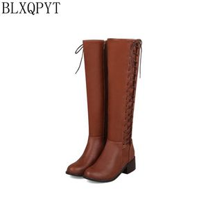 Image 1 - BLXQPYT 2018 New Big size 33 50 boots women Autumn Winter warm bottine femmes zapatos mujer shoes Knee  High woman 2012