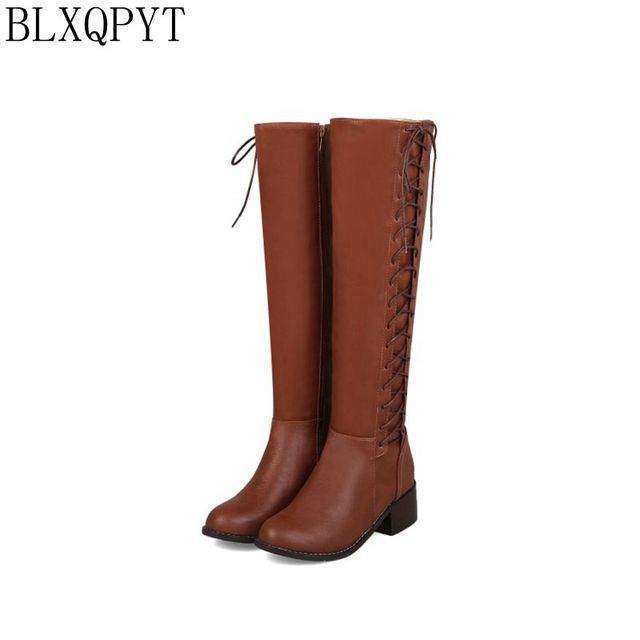 BLXQPYT 2018 New Big size 33 50 boots women Autumn Winter warm bottine femmes zapatos mujer shoes Knee  High woman 2012
