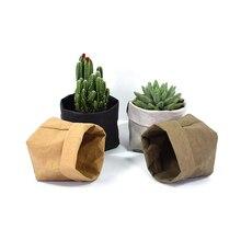 OUSSIRRO Nordic Style Kraft Paper Storage Bags Desk Organizer Washable bag Flowers Pot kraft bags Plant pot Toy