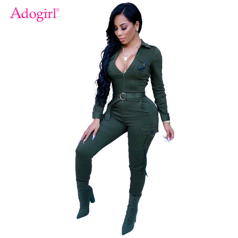 Adogirl Women Pockets Sporting Jumpsuit Zipper Turn Down Collar Long Sleeve Casual Romper Skinny Pants Tracksuit Overalls Belt
