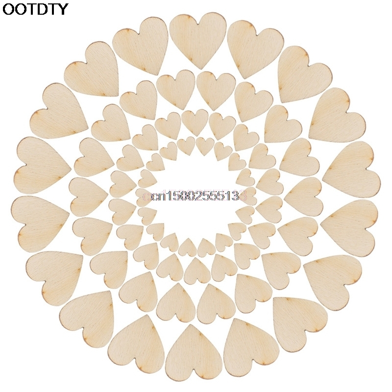 100pcs Rustic Wood Wooden Love Heart Wedding Table Scatter Decoration Crafts DIY in Tool Parts from Tools