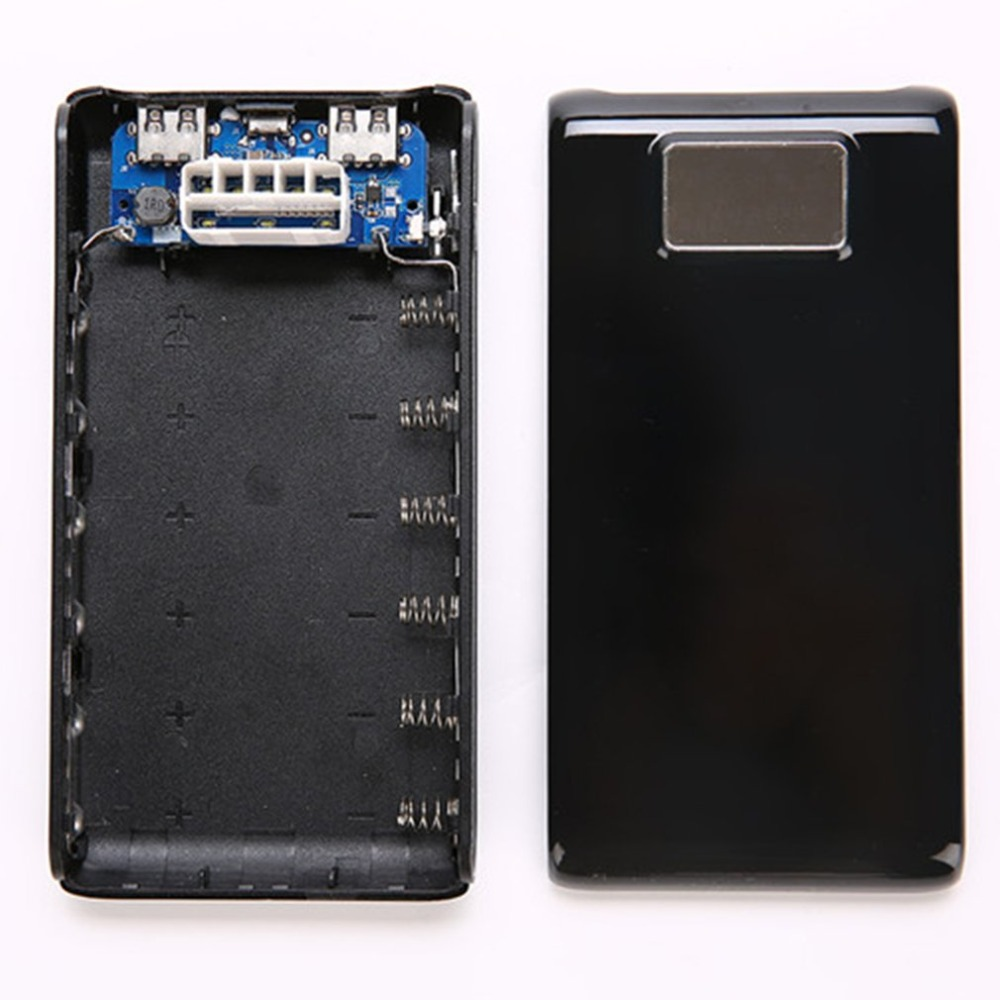Free Welding Power Bank Shell LCD Screen Digital Display Power Bank Charger DIY Module Powered By 6x 18650 Battery(not Include)