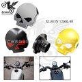 Top qualidade CNC da motocicleta gás combustível tampa do tanque capa para Harley Davidson XL883N 1200L 48 esqueleto Humano crânio decalque moto parte