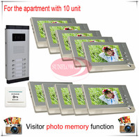 Ten 10 Units Apartment Building Color Video Door Phone Intercom Visitor Photo Memory Also Support SD
