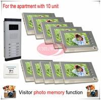 Ten 10 Units Apartment Building Color Video Door Phone Intercom Visitor Photo Memory Also Support SD