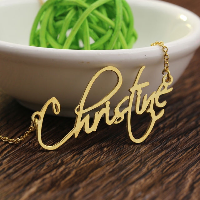Aliexpress buy signature pendant necklaces personalized name signature pendant necklaces personalized name solid silver necklace with rolo chain aloadofball Gallery