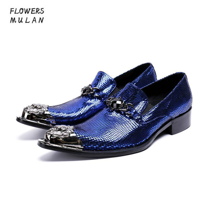 Pottery & Glass Brand Blue Genuine Leather Men Dress Shoes Silver Metal Toe Pointed Male Business Shoes One Buckle With Big Gem Male Footwear Reputation First