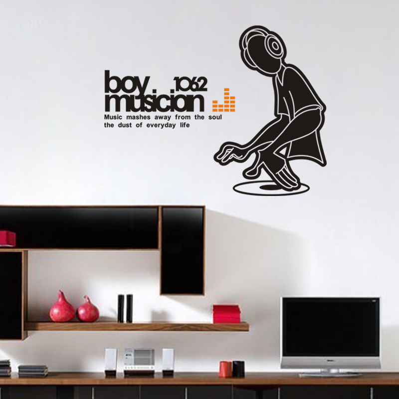 Fasion Music Lover Boy Note Spectrum Music Player home decal wall sticker student kids room decoration friend gifts in Wall Stickers from Home Garden