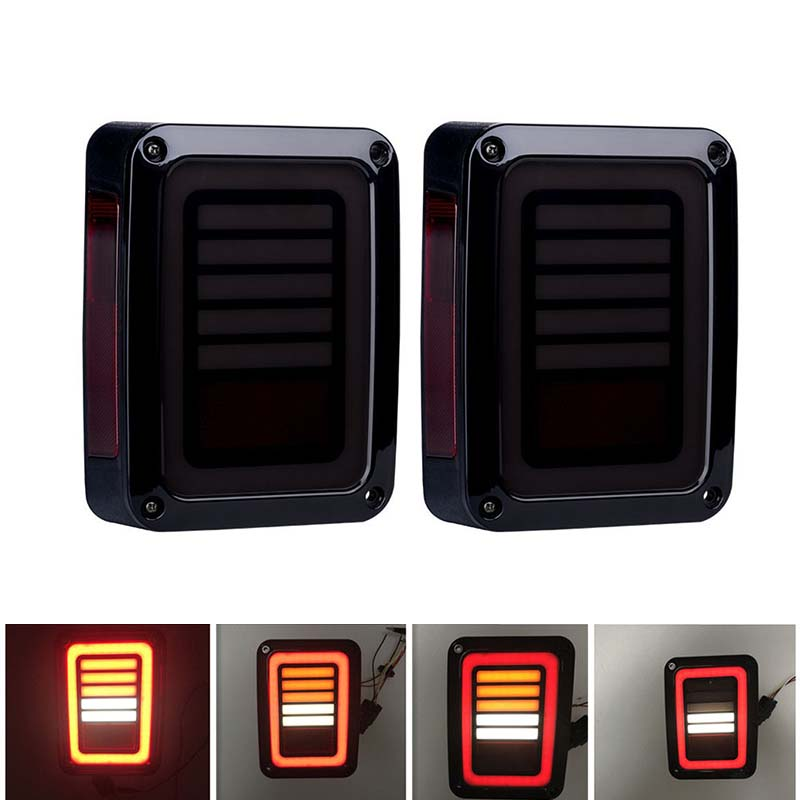 2PCS Smoked Wrangler led tail lights with turn signal,LED Brake tail lights Rear signal Reverse lamps for Jeep Wranlger JK 2 pcs led rear lights us europe version brake reverse tail lamps for atv 4x4 truck off road automobile auto for jeep wrangler