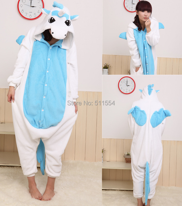 Free Quick Shipping Wholesale of Cheap Winter Soft Coral Fleece One Piece Blue and Pink Unicorn Kigurum Cosplay Costume