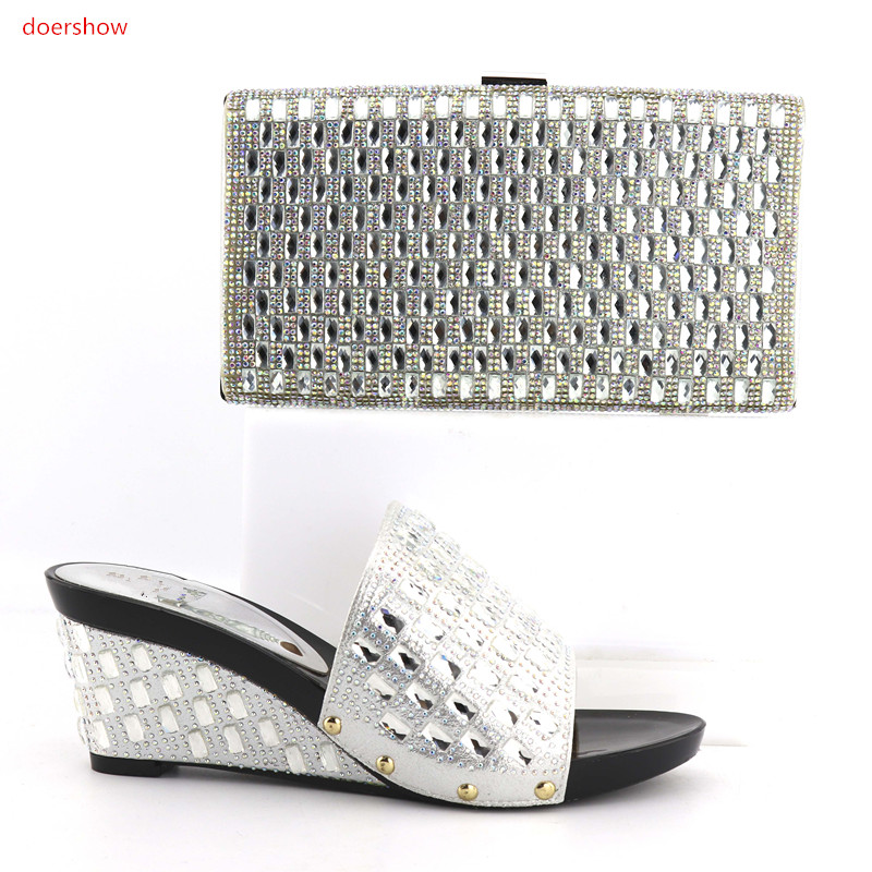 doershow Italian silver matching shoe and bag set african wedding shoe and bag set SQV1-8 doershow italian shoe with matching bag silver african shoe and bag set new design matching shoes and bags for party bch1 6