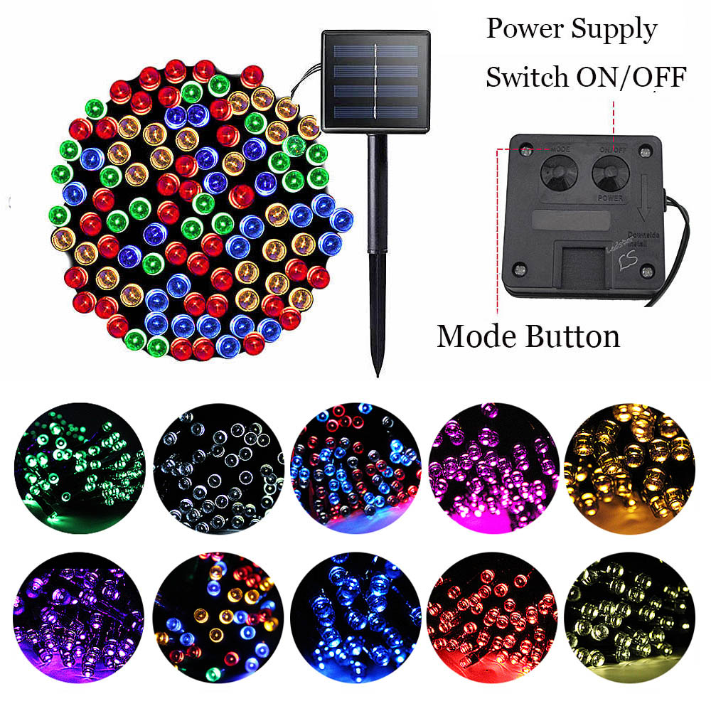 200 Christmas Garland Led Fairy Light Outdoor Solar Powered String Lights 3 Mode 7m/12m/22m Garden Wedding Decoration Waterproof