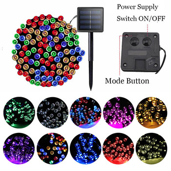 200 Led Solar String Lights Halloween Christmas Tree Decorations for Home 3Mode Garland Fairy Light Outdoor Garden Wedding Party 5m 20 led moon solar string lights outdoor fairy light string for christmas home wedding party bedroom birthday decoration