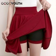 Gogoyouth Plus Size 4XL Shorts Skirts Womens 2018 Summer A line Sun School High Waist Pleated Skirt Female Korean Elegant Skirt