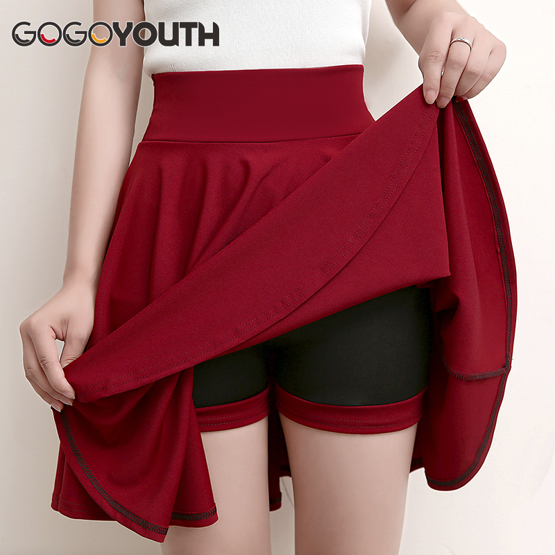 Gogoyouth Plus Size 4XL Shorts Skirts Womens 2018 Summer A line Sun School High Waist Pleated Skirt Female Korean Elegant Skirt