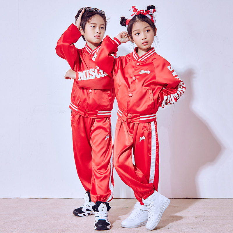 Hip Hop Dance Costume Kids Boys Red Long Sleeve Jazz Costumes Girls Street Dance Clothing Children'S Day Performance Wear DN1790