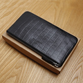 LANSPACE genuine leather men wallets famous brand thin purse fashion crocodile coin purses holders