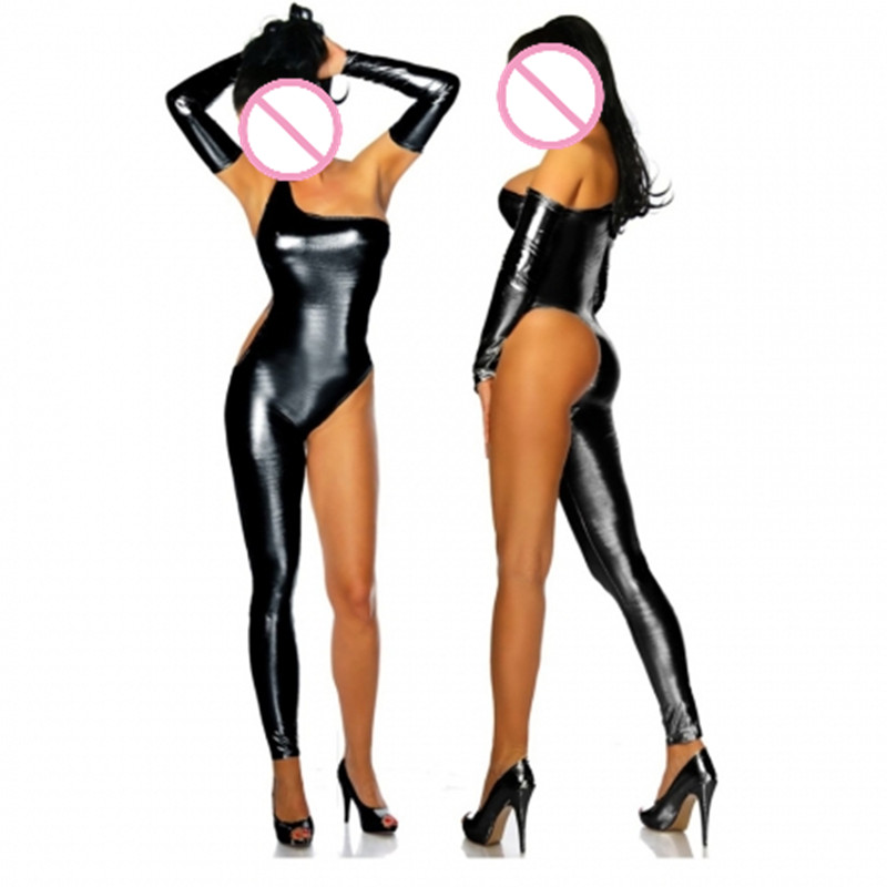 Abbille Women Sexy Leather Latex Catsuit black One Shoulder Single Leg Leotard Bodysuit Wet Look Pole Dancing Exotic Clubwear