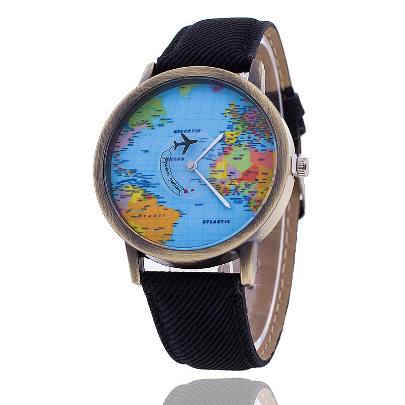 Fashion Global World Map Plane Denim Fabric Band Watch Casual Women Wristwatches Quartz Watch Relogio Feminino Gift 2017 new fashion tai chi cat watch casual leather women wristwatches quartz watch relogio feminino gift drop shipping