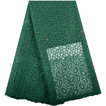 Milk Silk Nigerian Lace Fabrics For Wedding Dress Green African French Lace Fabrics High Quality Guipure Lace With Stones F1424