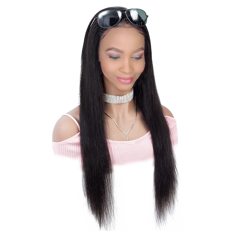 QLOVE HAIR 4 4 Straight Lace Wigs Human Hair Lace Frontal Wigs Natural Color Non Remy