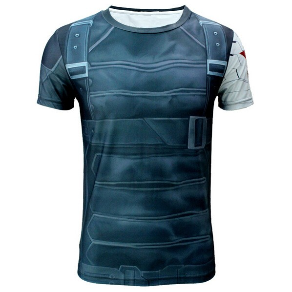 High Quality 2015 Marvel Captain America 2 Winter Soldier Costume 3d Super Hero Jersey Short Sleeves  Camisetas T Shirt Men