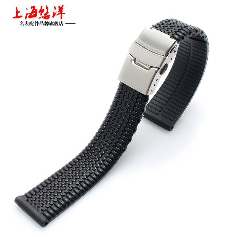 1pcs 20mm 22mm 24mm Black Silicone Watchband Rubber Fold Clasp with Safety Bracelet Wrist Strap Light Soft for Men Sport Watch lukeni 24mm camo gray green blue yellow silicone rubber strap for panerai pam pam111 watchband bracelet can with or without logo