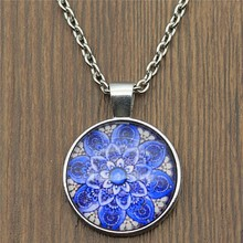Mandala Flower Picture Glass Cabochon Necklace 2 Colors Vintage Women Fashion Jewelry