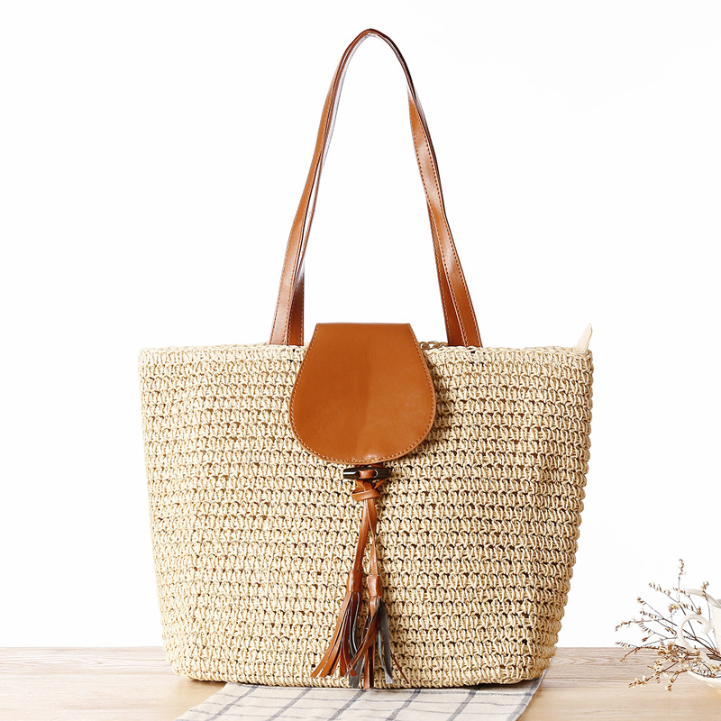 Summer Woven Straw Handbags Beach Bags Women Large Fashion Bolsos Mujer Bandolera Solid Big Women's Shoulder Bags With Zipper handmade flower appliques straw woven bulk bags trendy summer styles beach travel tote bags women beatiful handbags