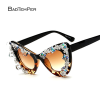 Badtemper Cat Eye Sunglasses Women 2018 Shades Rhinestones Luxury Women Sunglasses Brand Designer Woman Oculos De Sol Feminino