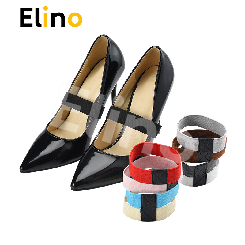 Elino High Elastic PU Shoe Straps Anti-loose For Girls Women Hold Loose High Heels Flat 1 Pair Shoes Belts Solid Color Shoelaces