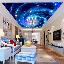 Fantasy Moon Star galaxy large ceiling frescoes sky blue sky and white clouds suspended ceiling 3D wallpaper background