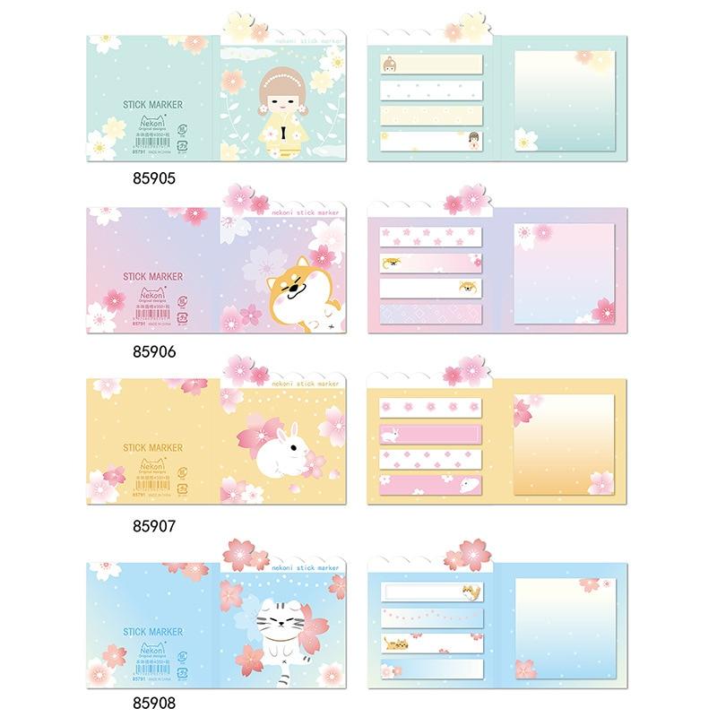 Rabbit Cherry Sakura Shiba Memo Pad Sticky Notes Escolar Papelaria School Supply Bookmark Label