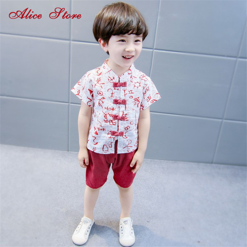 Summer new children's Tang suit boy cotton hemp buckle short-sleeved Hanfu clothing sets Chinese style clothes sets for kids : 91lifestyle