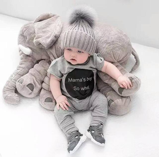 Venta caliente de alta calidad de Sueño Almohada Elefante Bebé Playmate Juguete de Peluche 60 CM * 45 CM * 23 CM Suave 1 UNIDS Regalos de Cumpleaños del bebé Presente