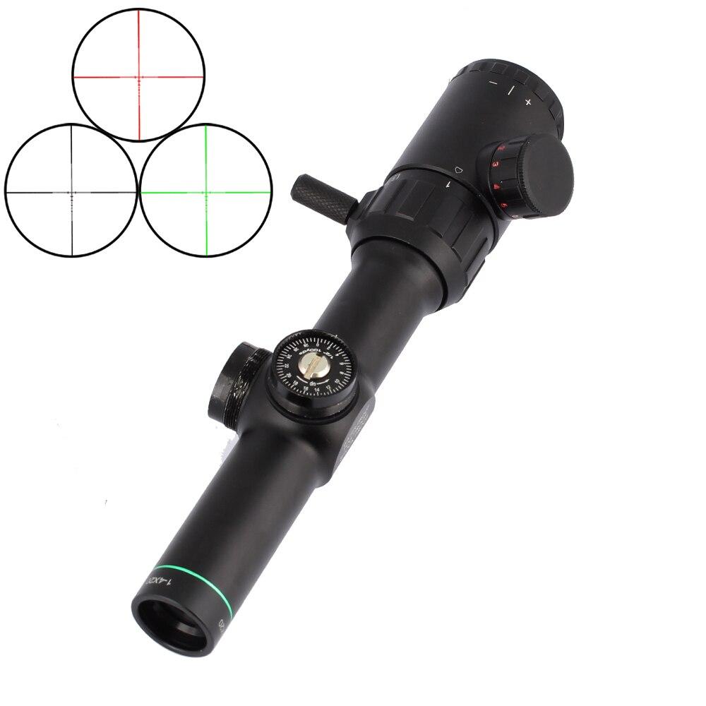 Alcance óptico de visión de caza táctico 1-4X20 Riflescopes Rifle de retícula con monturas
