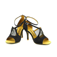 YOVE Dance Shoe Satin and Mesh Women's Latin/ Salsa Dance Shoes 3.25″ Slim High Heel More Color w134-7