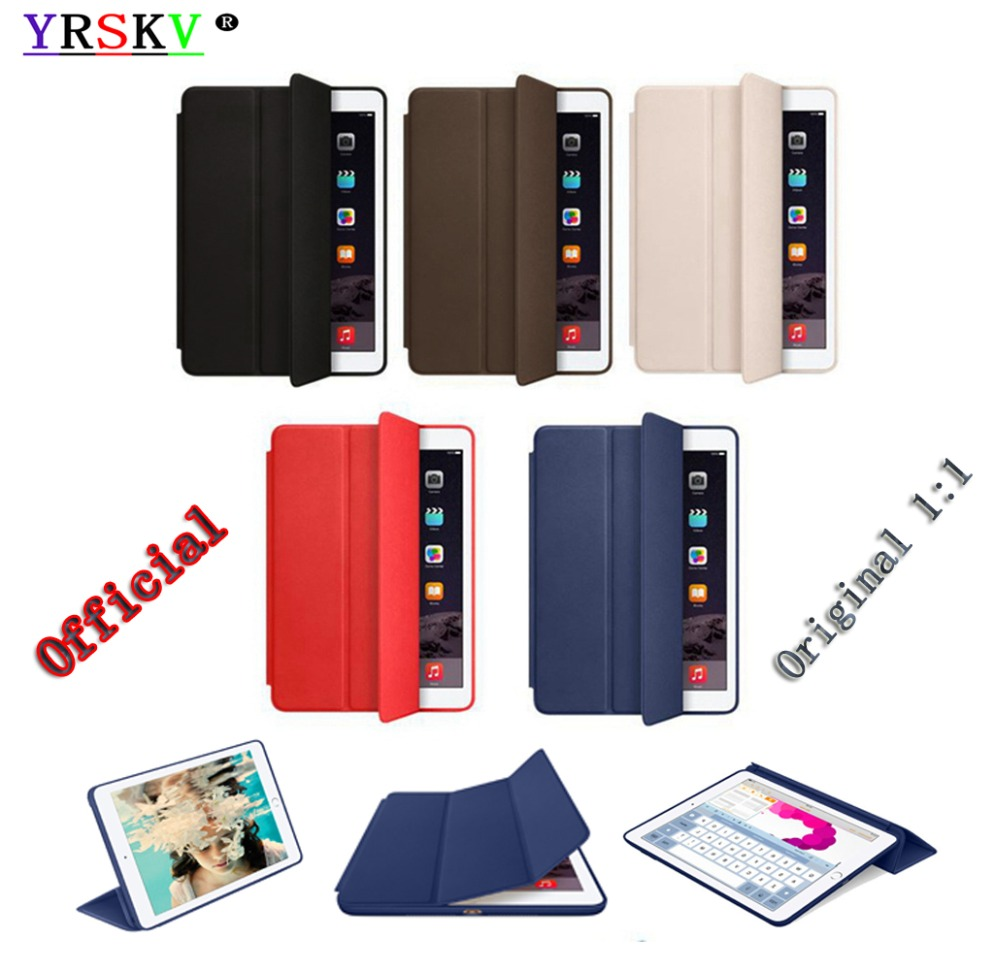 Original 1:1 Smart Cover Case for iPad Air 2 (2014) YRSKV PU Leather Magnetic Smart Cover Tablet Case For Apple iPad nice flexible tpu silicone case for apple new 2017 ipad 9 7 cover protect smart cover partner clear transperent bottom back case