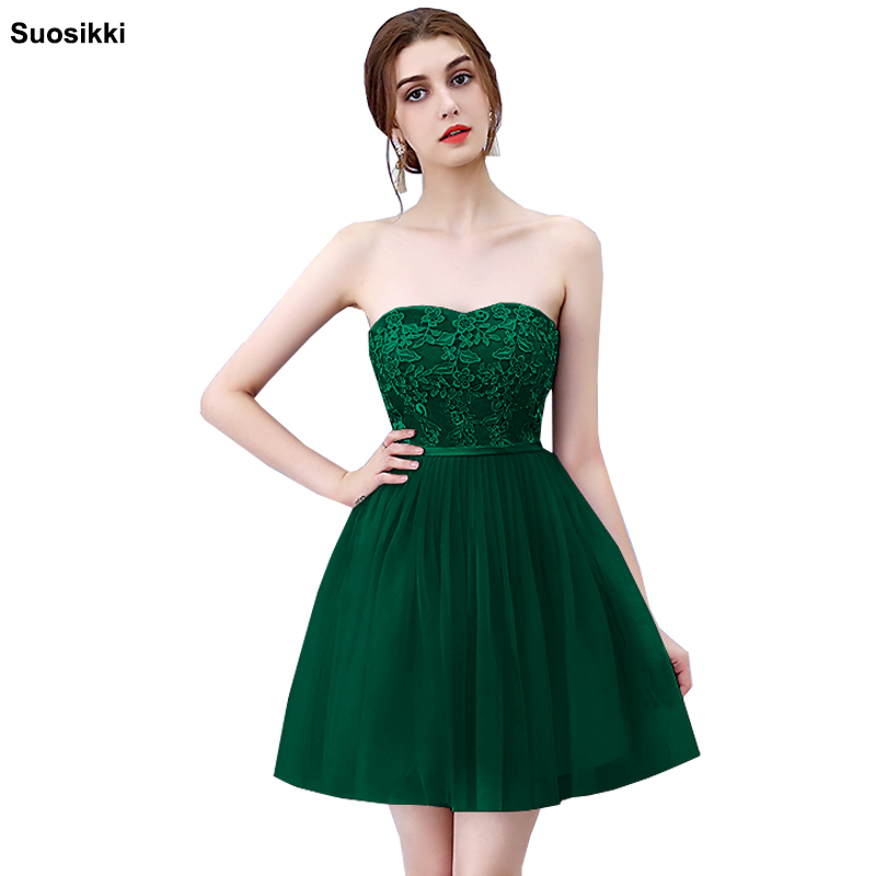 Strapless Pleat Lace up 2018 short evening Party gown Asymmetry Vintage Elegant   Prom   Gown Dancing   Prom     Dresses