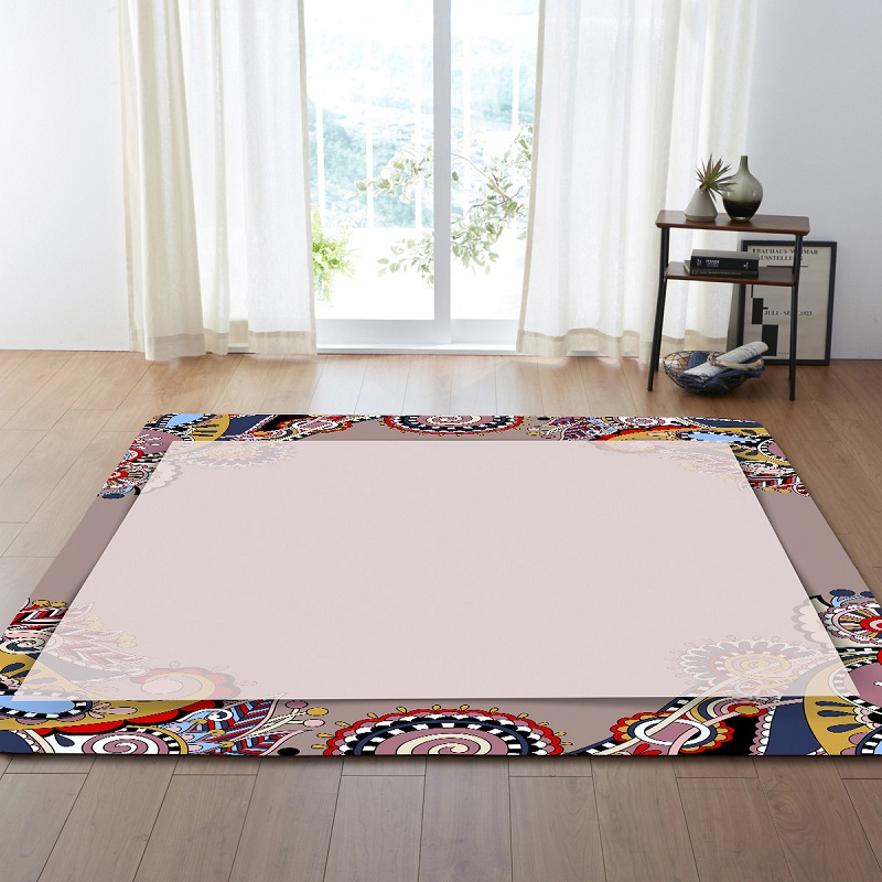 Geometric Line Lattice Pattern European Classical Palace Carpets For Living Room Kids Rugs Round Floor Carpet For Bedroom Cover