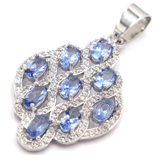 Gorgeous New Stone Iolite White CZ 925 Silver Pendant 35x20 mm